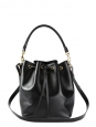 Emmanuelle black leather shoulder bucket bag medium size Retail price €1450