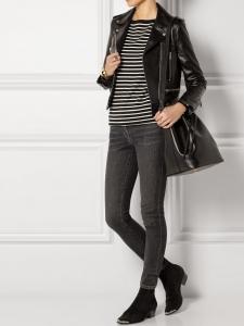 Emmanuelle black leather shoulder bucket bag medium size Retail price €1450