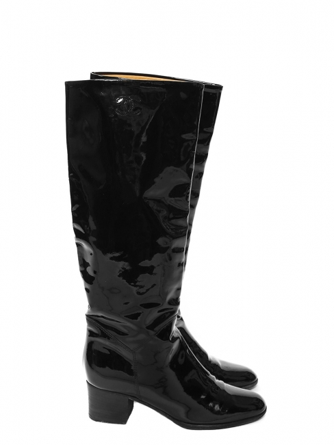 Black patent leather knee high boots Retail price €1300 Size 36.5