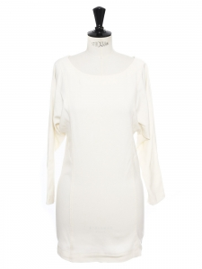 Long sleeves round neckline cream white cotton dress Size 36