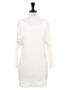 Robe en coton blanc crème col rond manches longues Taille 36