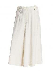 HELMUT LANG Ivory white crepe cropped elasticated waist wide-leg pants Size S