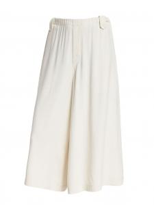 HELMUT LANG Ivory white crepe cropped elasticated waist wide-leg pants Size S