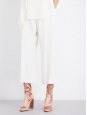 HELMUT LANG Pantalon court évasé cropped en crêpe blanc Prix boutique $468 Taille 36