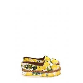 Espadrilles plates-formes en brocart blanc imprimé citron jaune et vert Prix boutique 639€ Taille 40
