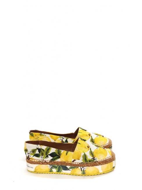 Lemon yellow, green and white citrus print brocade platform espadrilles Retail price €639 Size 40