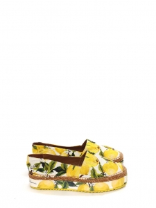 DOLCE & GABBANA Lemon yellow, green and white citrus print brocade platform espadrilles Size 40
