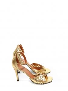Sandales twist en cuir doré à talon et lanière cheville Prix boutique 620€ Taille 36