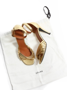 TWIST gold leather heel sandals Retail price €620 Size 36