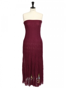 Prune burgundy maxi knitted strapless dress embroidered with flowers Size S