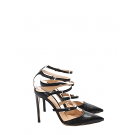 CAREY Black leather strappy triple buckled pumps Retail price €950 Size 37