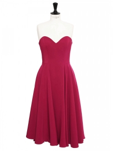 Strawberry red off-the-shoulder cinched cady midi dress Retail price €795 Size 38