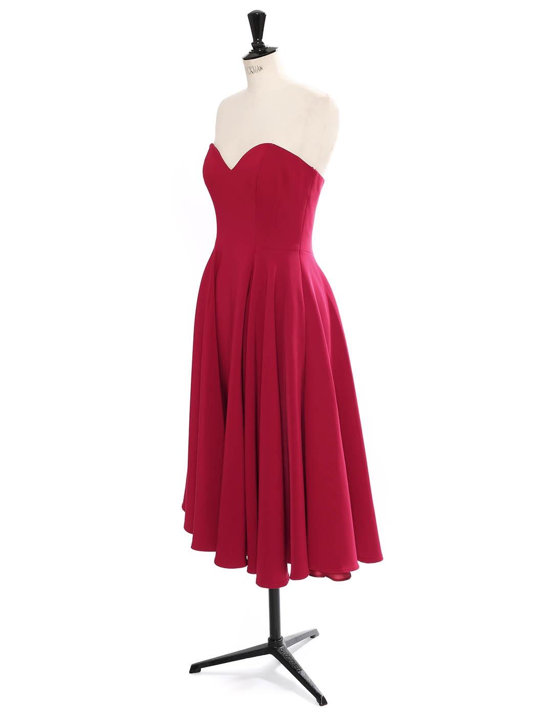 Louise Paris Sara Battaglia Robe Bustier Coeur Cintree Evasee En Crepe Rouge Framboise Fonce Taille 38