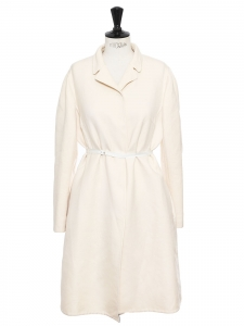 Cream white wool and silk belted coat Retail price €2300 Size 42