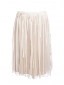 Low waist white silk and silver shiny pleated skirt Retail price €1500 Size M/L