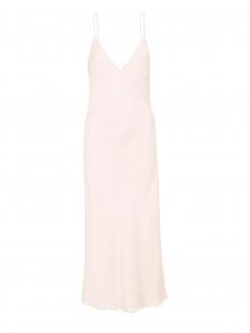 Robe longue décolleté V à fines bretelles en satin rose pâle Prix boutique 425€ Taille 38