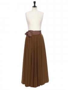 Jupe longue taille haute drapée marron khaki Px boutique 2000€ Taille 36 à 40