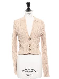 Gilet court en grosse maille de laine rose et boutons écailles Taille 34