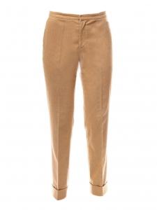 Pantalon droit à pli en feutre de laine vierge et cachemire beige camel Prix boutique 350€ Taille 36
