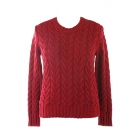Maestro red cashmere and wool heavy cable knit round neck sweater Retail price €550 Size S