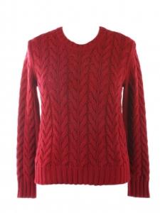 Pull col en grosse maille de laine et cachemire torsadée rouge Prix boutique 525€ Taille 36