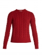 Red cashmere and wool heavy cable knit round neck sweater Retail price €550 Size S