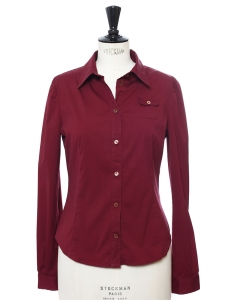 Burgundy red cotton long sleeved shirt Retail price €400 Size S