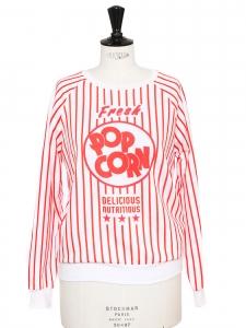 Sweat Fresh POP CORN blanc imprimé rayé rouge NEUF Prix boutique $268 Taille 36