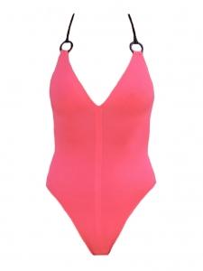 Maillot de bain une pièce BAHIA rose bretelles croisées noires NEUF Prix boutique 325€ Taille 34