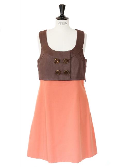 Summer 2007 brown and orange cotton sleeveless dress Retal price 2000€ Size 40
