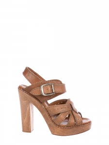Tan beige leather wooden sole heel sandals Retail price €550 Size 37