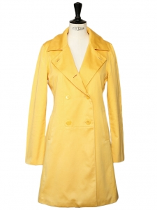 Buttercup yellow cotton trench coat Size 34