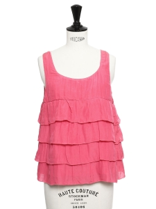 Fushia pink silk and cotton ruffle sleeveless top Retail price €125 Size 36