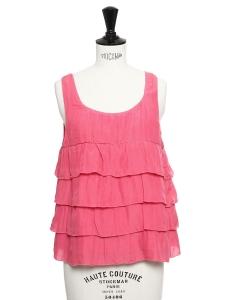 Top en coton et soie rose fushia à volants Prix boutique 125€ Taille 36