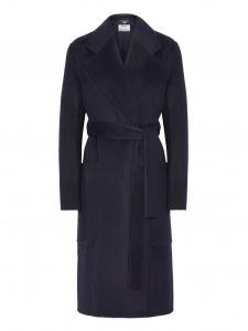 Manteau CARICE long oversized ceinturé en laine et cachemire bleu nuit Prix boutique 1200€ Taille 38