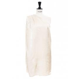 Cream beige satin one-shoulder draped dress Retail price €550 Size 36