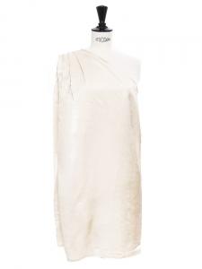 Robe asymétrique en satin beige crème Px boutique 550€ Taille 36