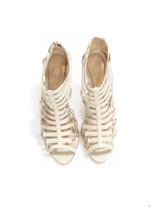 Multi strap eggshell /white leather stilettos sandals NEW Retail price 700€ Size 37.5
