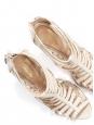 Multi strap eggshell /white leather stilettos sandals NEW Retail price 700€ Size 37.5