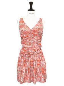 Robe KILONA en soie rouge imprimé aztèque Px boutique 300€ Taille 34