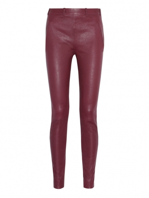 Burgundy red leather slim pants Retail price €1100 Size 36