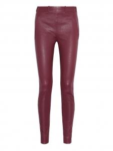 Pantalon slim jegging en cuir rouge bordeaux à zips Px boutique 1100€ Taille 40