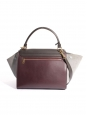 Burgundy red and brown leather, light grey suedeTRAPEZE medium handbag with strap Retail price €2200