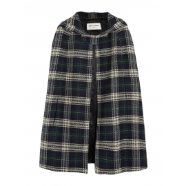Green, navy blue and beige plaid wool hooded cape Retail price €1990 Size 40