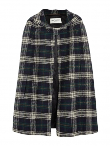 SAINT LAURENT Green, navy blue and beige plaid wool hooded cape Retail price €1990