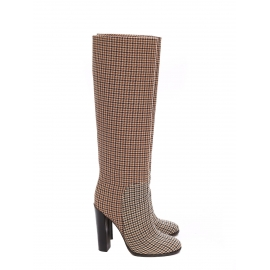 Brown houndstooth knee-high heeled boots Retail price $1200 Size 39.5