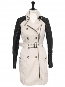 Sand beige cotton and black leather sleeves trench coat Retail price $2 795 Size 36