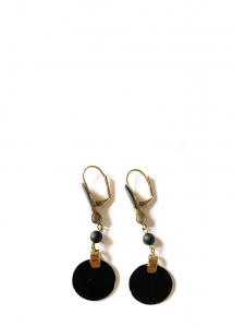 Gold brass and black enamel pierced earrings Retail price €210
