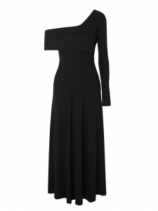 Robe ALORA longue épaule nue en jersey côtelé noir Prix boutique $395 Taille XS