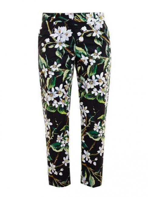 Pantalon slim fit imprimé fleuri noir vert et blanc Prix boutique $675 Taille 36